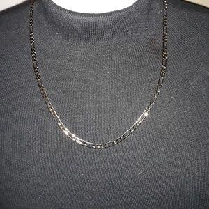 "24"" White Gold Figaro Chain Necklace"